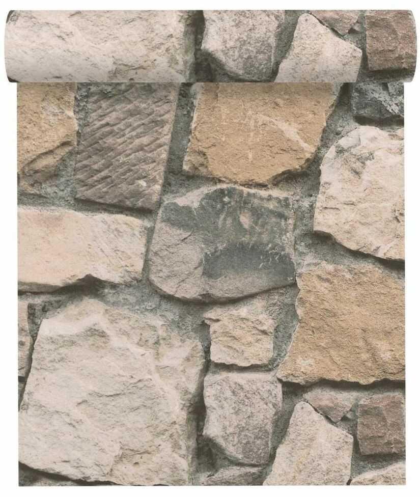 Tapeta 3D Kamienie kremowo-szara imitacja kamienia papierowa