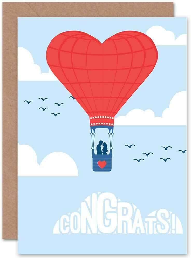 Wee Blue Coo Kartka z życzeniami na urodziny, ślub, ślub, ślub, balon na gorące powietrze, serdeczne życzenia
