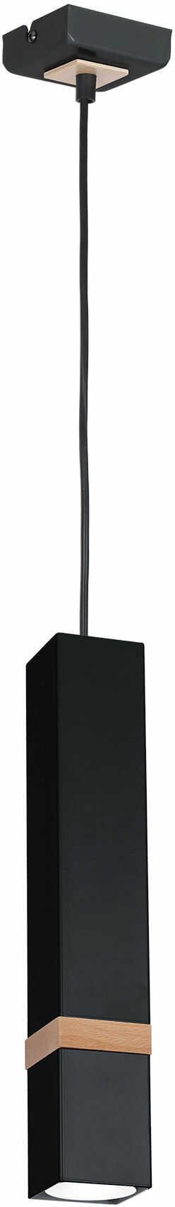 Milagro VIDAR BLACK MLP5403 lampa wisząca nowoczesna metalowy klosz czarny drewno 1xGU10 8cm