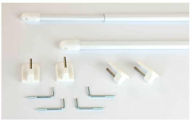 Mini-karnisz do zazdrostki biały 2szt., 80 cm