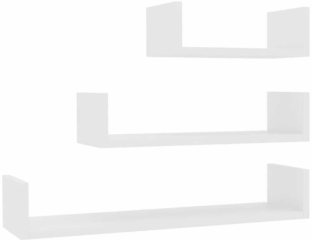 Zestaw białych półek ściennych z połyskiem - Baffic 3X