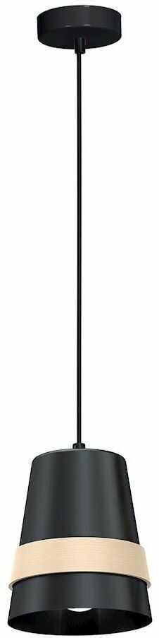 Milagro VENEZIA BLACK MLP5450 lampa wisząca nowoczesna połączenie czerni z drewnem 1xE27 14cm