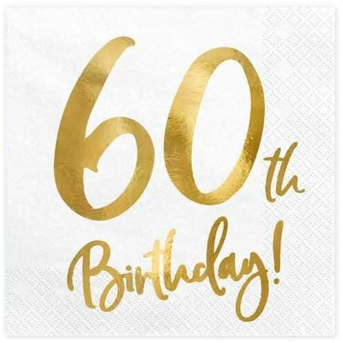 Białe serwetki na 60 urodziny złoty nadruk 33cm 20 sztuk SP33-77-60-008