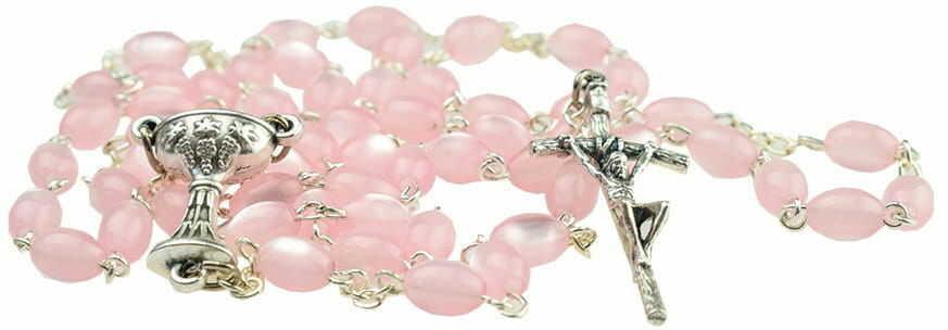 Różaniec Madre Perla owal. Na Pierwszą Komunię Świętą.