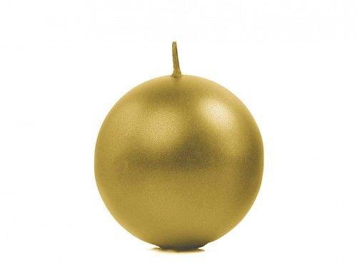 Świece Kule metalizowane, złote 6 cm, (10szt.)