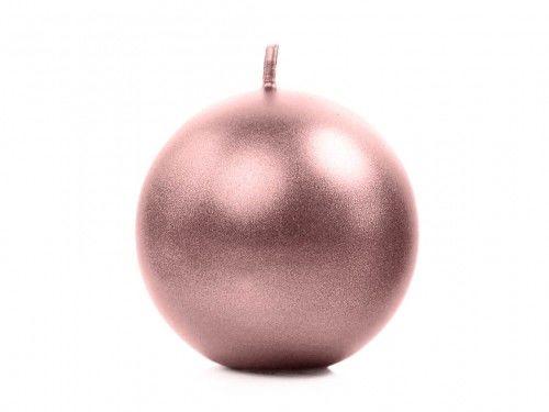Świece Kule metalizowane, różowe złoto 8 cm, (6 szt.)