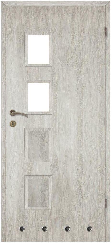 Skrzydło drzwiowe z tulejami wentylacyjnymi Alba Dąb silver 60 Prawe Artens