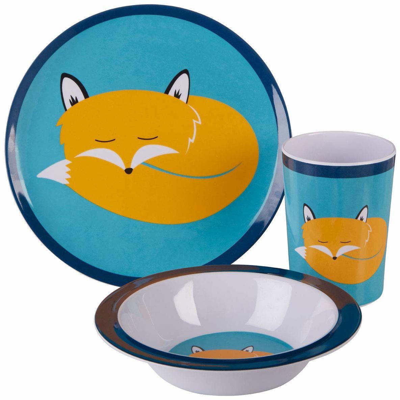 Premier Housewares Mimo Kids Felix Fox zastawa stołowa, melamina, wielokolorowa, 11 x 28 x 25
