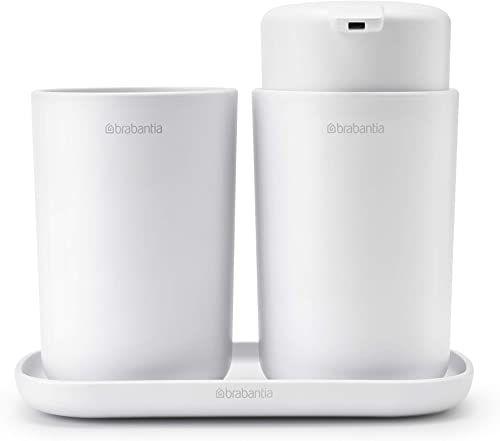 Brabantia ReNew 3-częściowy zestaw akcesoriów łazienkowych (biały) do wielokrotnego napełniania dozownik mydła do mycia rąk, uchwyt na szczoteczkę do zębów i taca