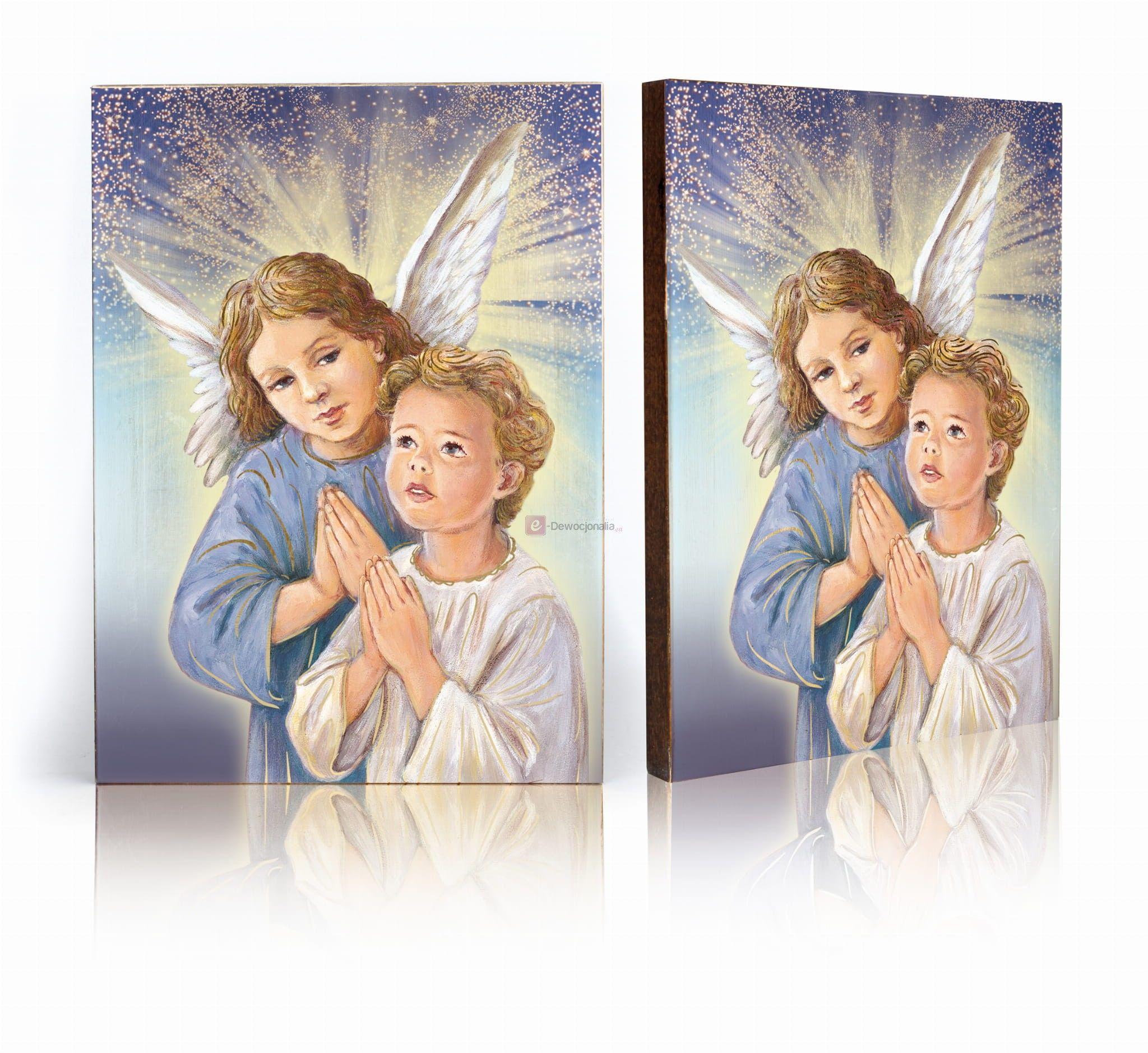 Ikona ręcznie wykonana - Anioł Stróż, biało - niebieski - 17x23cm
