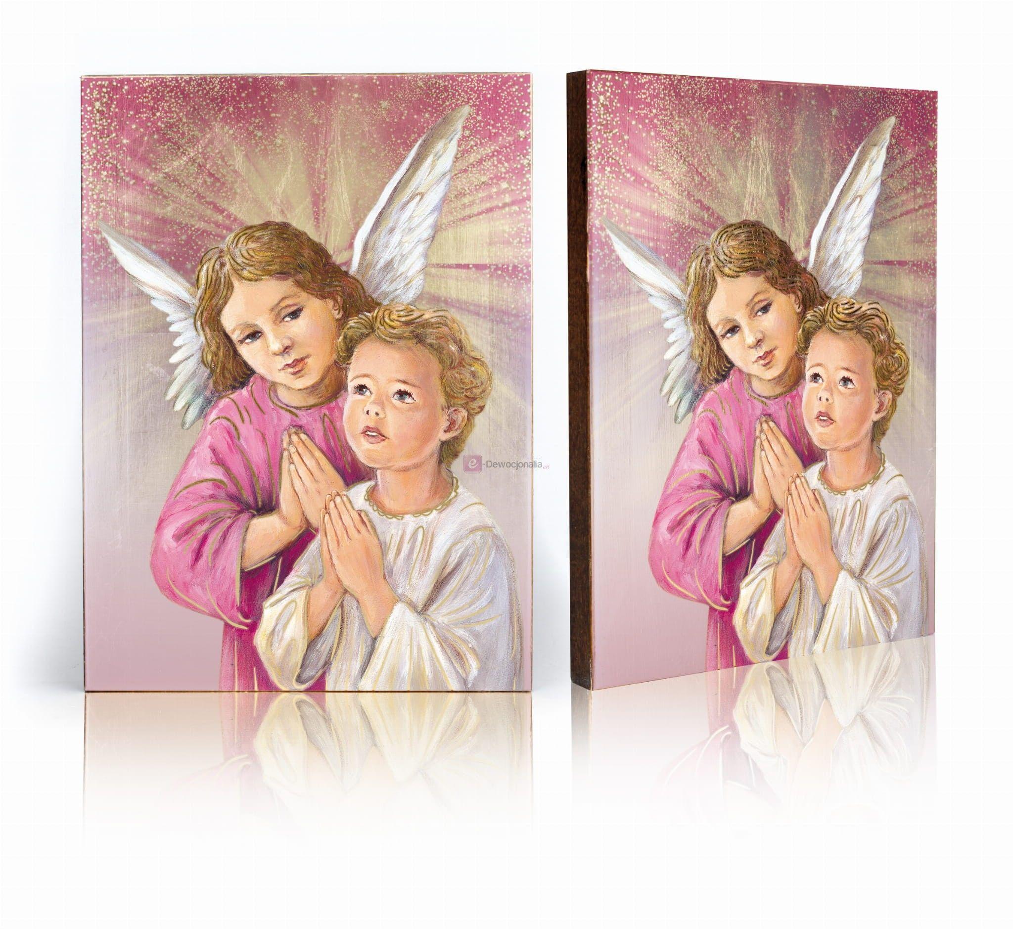 Ikona ręcznie wykonana - Anioł Stróż, biało - różowy - 17x23cm