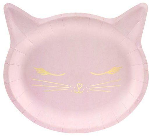 Talerzyki urodzinowe Kotek różowe 22x20cm 6 sztuk TPP42