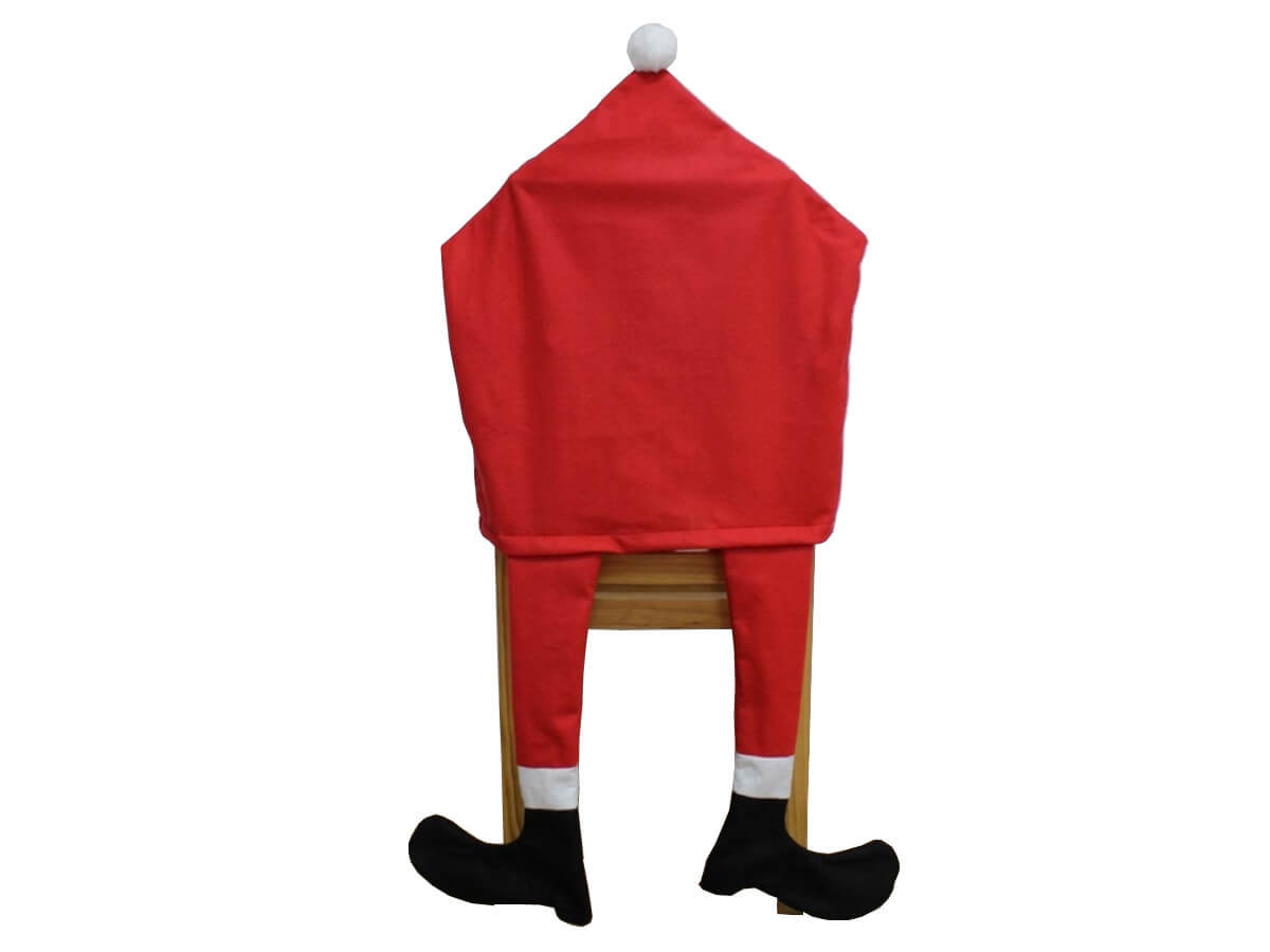 Pokrowiec na krzesło Nogi Mikołaja na święta Bożego Narodzenia - 1 szt.