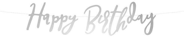 Baner urodzinowy Happy Birthday srebrny 62cm 1szt. GRL75-018M