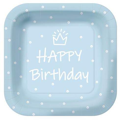Niebieskie talerzyki papierowe Happy Birthday 23cm 10 sztuk PPS1000305