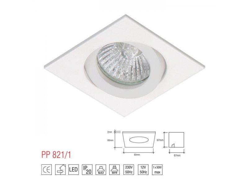 LM 821/1 OPRAWA HALOGENOWA LED WPUSZCZANA OCZKO REGULOWANA ALUMINIUM BIAŁY MR16 GU10 GU5,3