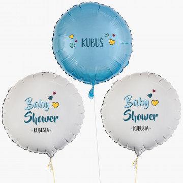 Baby shower chłopiec - Zestaw balonów z helem - Koła