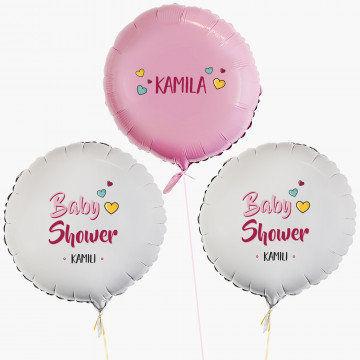 Baby shower dziewczynka - Zestaw balonów z helem - Koła