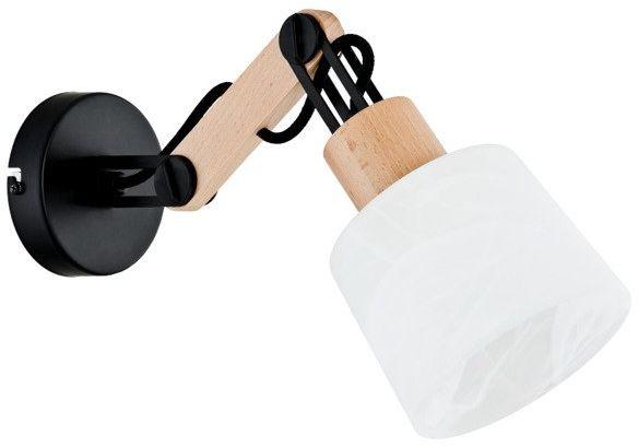 Nowoczesna lampa ścienna BRIDGE I drewno śr. 28cm