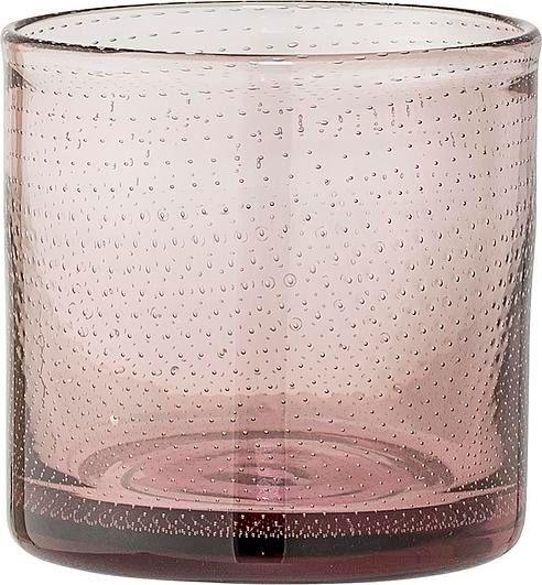 Świecznik na tealighty bloomingville 10 cm różowy szklany