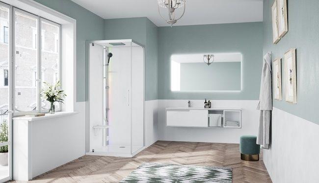 Novellini Glax 1 2.0 kabina z sauna parową 80x80 lewa srebrna G21GF80SM5-1BB