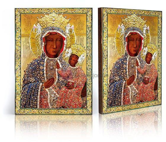 Ikona Matka Boża Częstochowska (w sukience diamentowej) z certyfikatem - 17x23cm