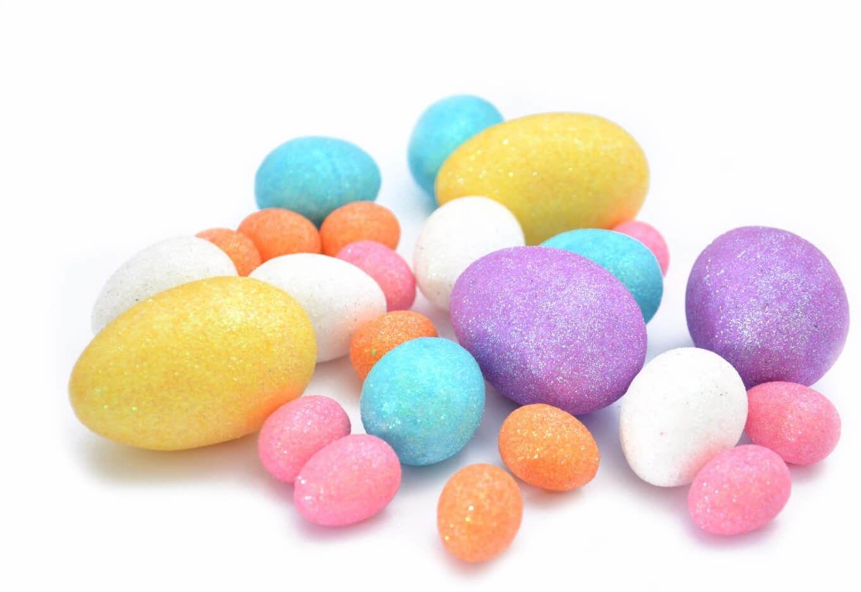Pisanki brokatowe mix kolorów - 2,5-6 cm - 22 szt.