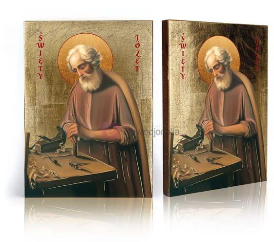 Ikona Święty Józef przy pracy z certyfikatem - 17x23cm