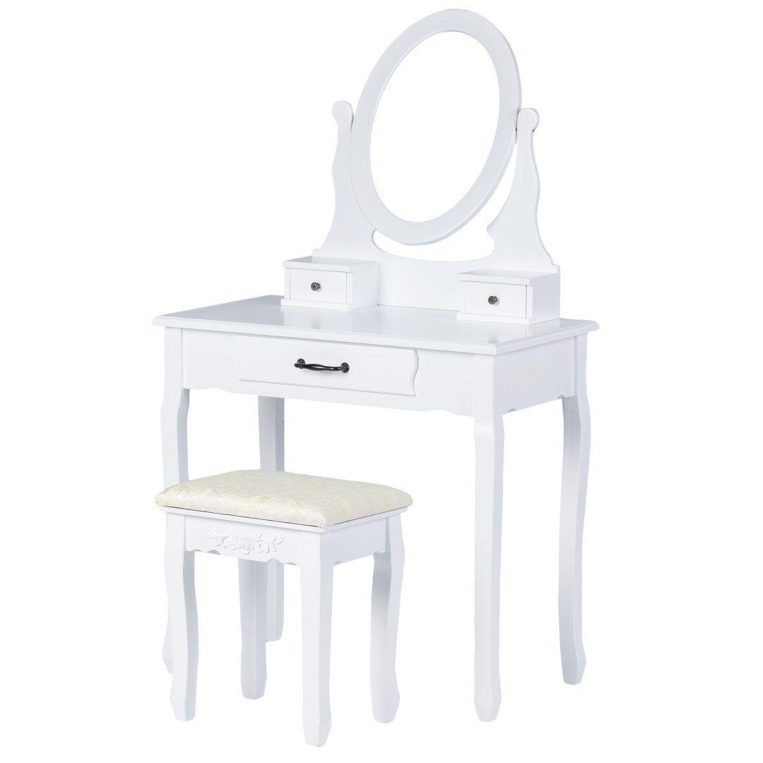 Toaletka kosmetyczna z ruchomym lustrem i taboretem