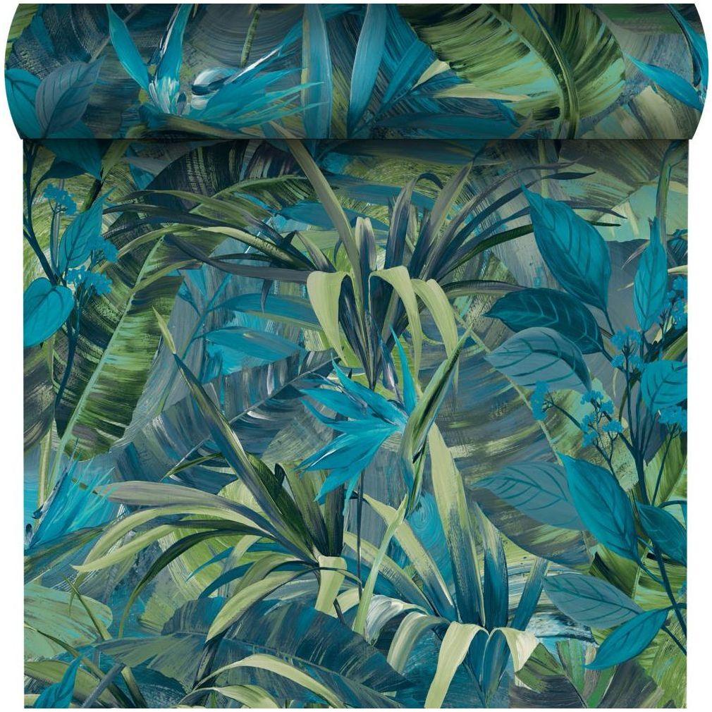 Tapeta w liście Paradise Flower zielona winylowa na flizelinie