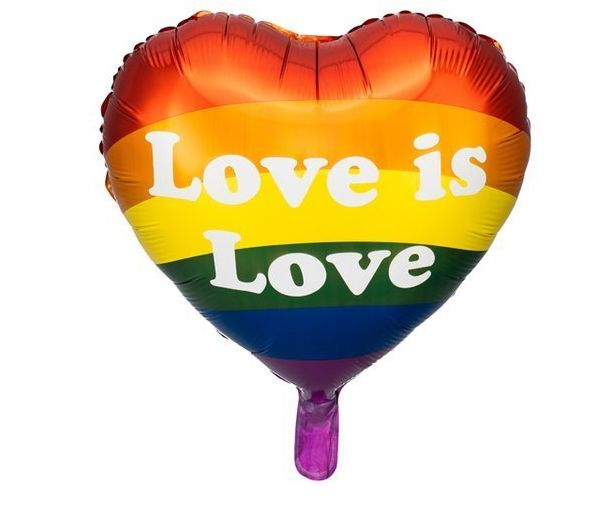 Balon foliowy serce Love is Love tęczowy 35cm 1 sztuka FB99
