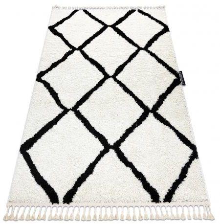 Dywan BERBER CROSS biały Frędzle berberyjski marokański shaggy 80x150 cm
