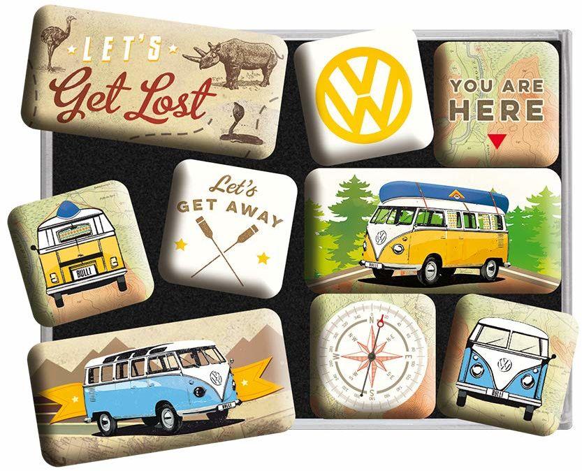 Nostalgic-Art Zestaw magnesów na lodówkę, zestaw magnesów na tablicę magnetyczną, kolorowy, 9 sztuk