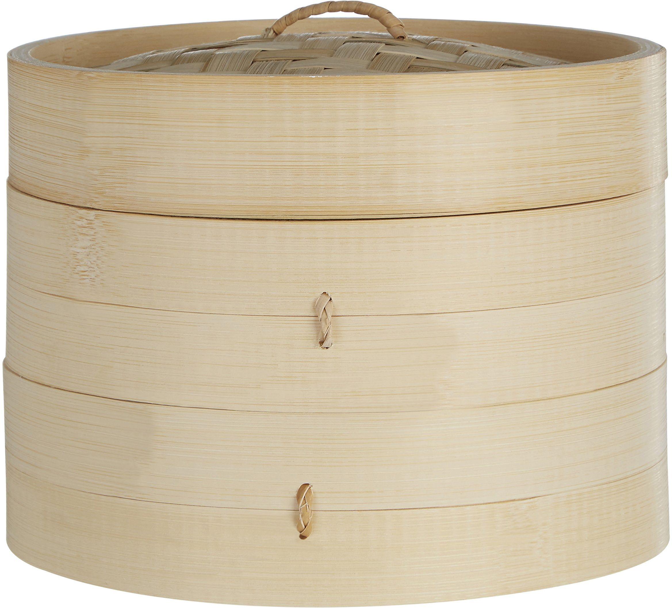 Premier Housewares Okrągły parownik, 2 poziomy, mały, bambus, naturalny, 20 x 20 x 15 cm