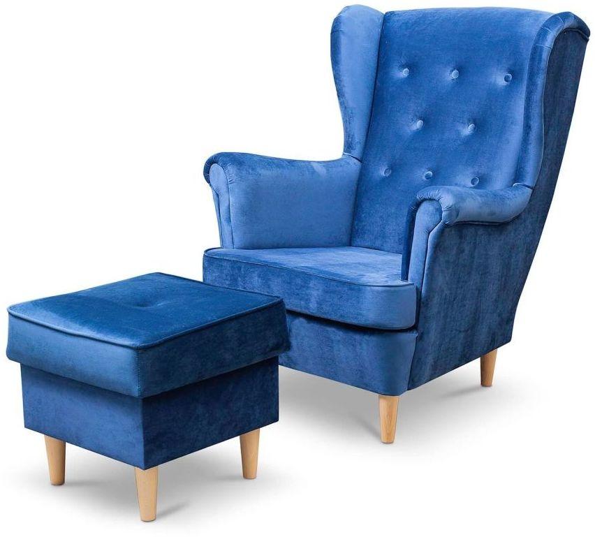 Fotel uszak Lily z podnóżkiem w stylu skandynawskim