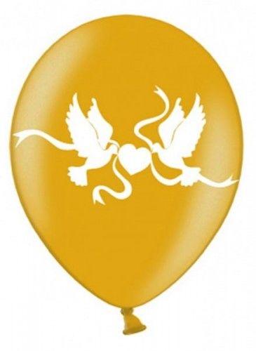 """Balon 14"""" złoty w białe gołąbki"""