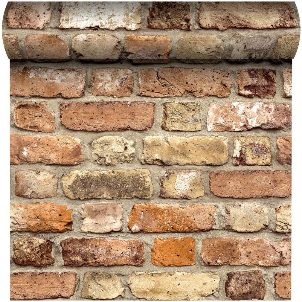 Tapeta Rustic Brick 3D czerwona imitacja cegły winylowa na flizelinie