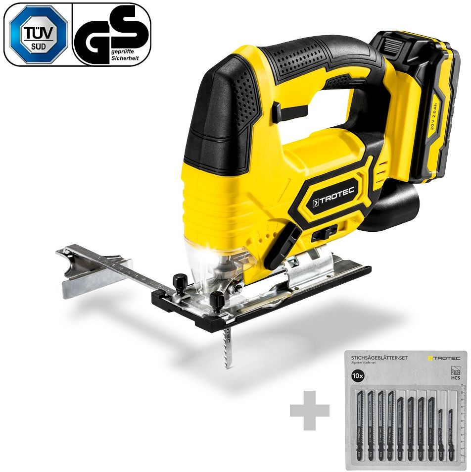 Wyrzynarka akumulatorowa PJSS 11-20V + Zestaw brzeszczotów do drewna, 10-częściowy