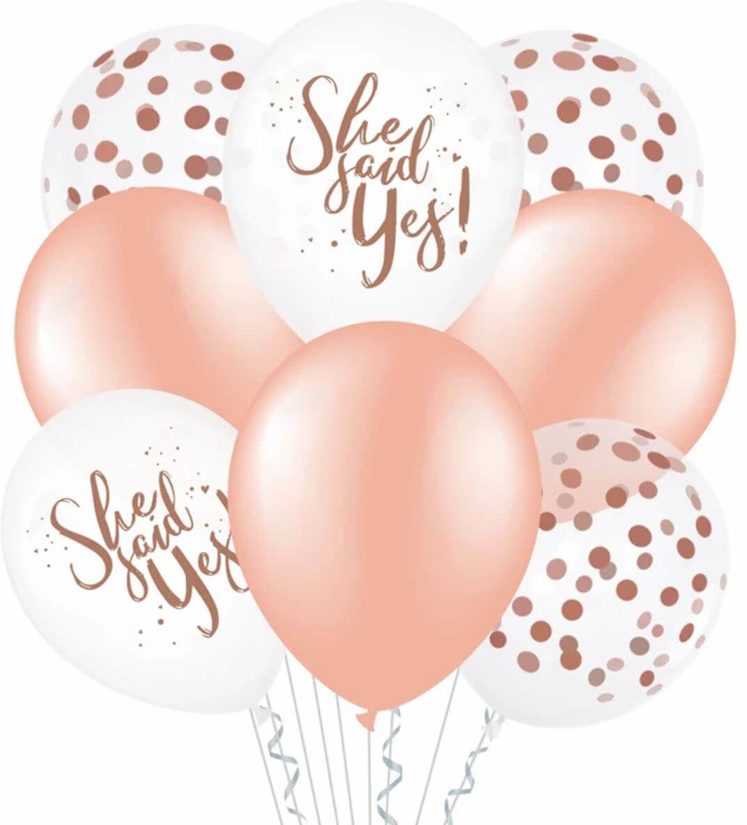 Zestaw balonów na wieczór panieński She said yes różowe złoto - 30 cm - 8 szt.