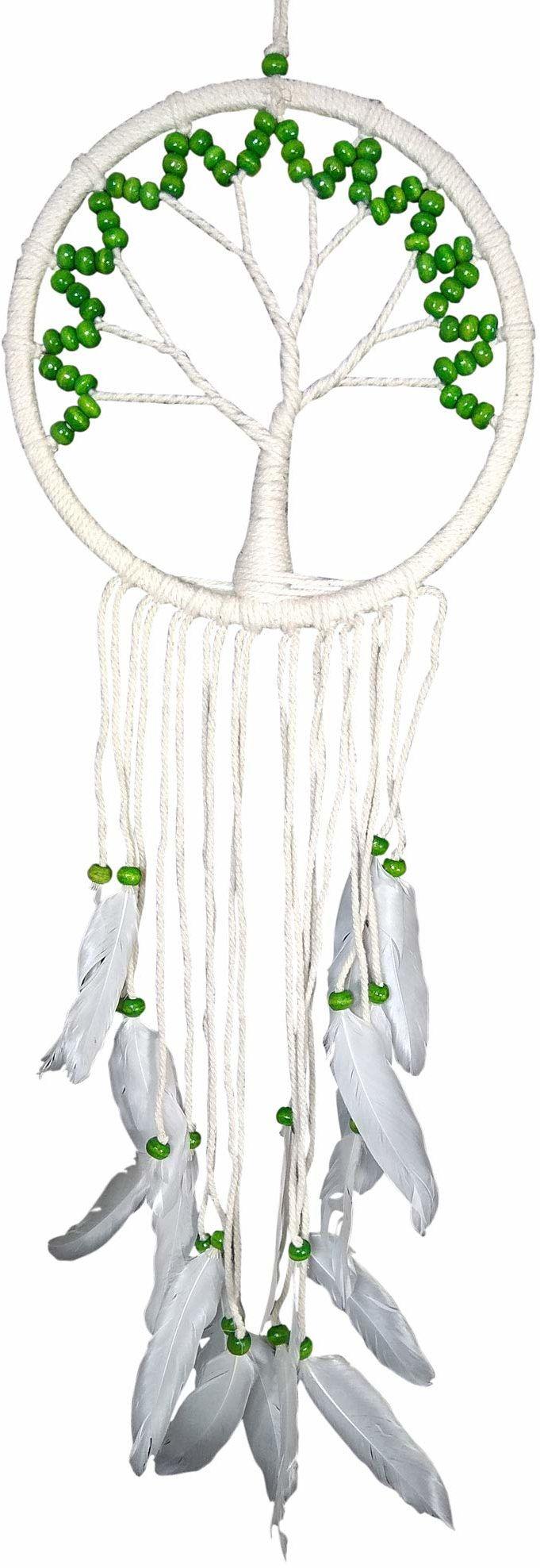 Asiastyle DC-TREEOL01-022WH-GR łapacz snów, biały, zielony, 22 cm