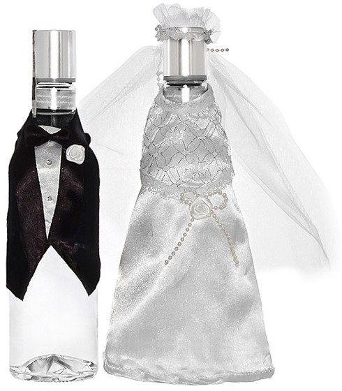 Ubranko na wódkę weselną Młoda Para suknia i frak 2 sztuki UW3-008