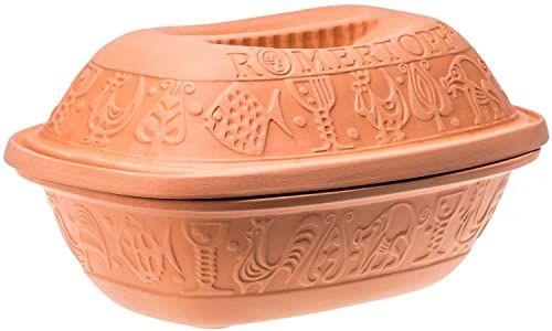 Römertopf Terracotta Garnek Do Pieczenia Parowar Ceramiczny 2.5 L Brązowy