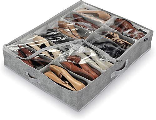 Domopak salon buty 12 przegródek, szary, 76 x 60 x 15 cm