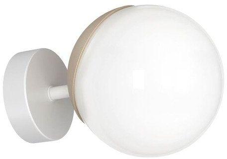 Kinkiet nowoczesny szklana kula SFERA WOOD drewno/biały