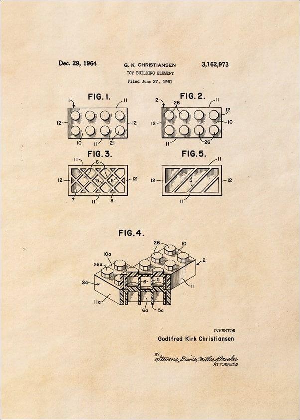 Patent, lego ii 1964 sepia - plakat wymiar do wyboru: 21x29,7 cm