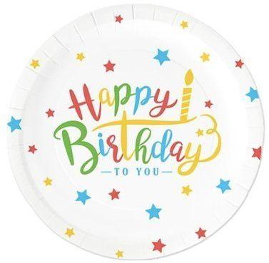 Talerzyki urodziny papierowe Happy Birthday 18cm 6 sztuk 510796