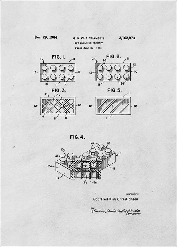 Patent, lego ii 1964 - plakat wymiar do wyboru: 21x29,7 cm