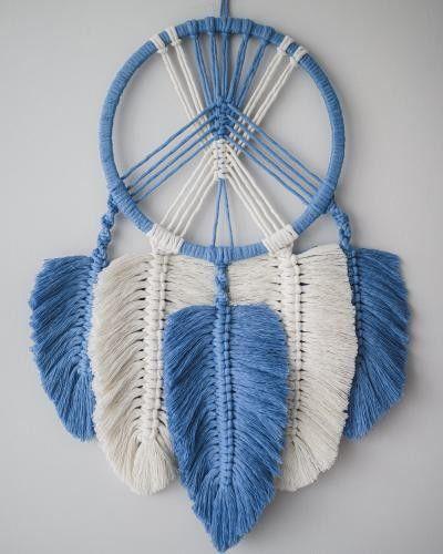 Makramowy łapacz snów - niebiesko biały