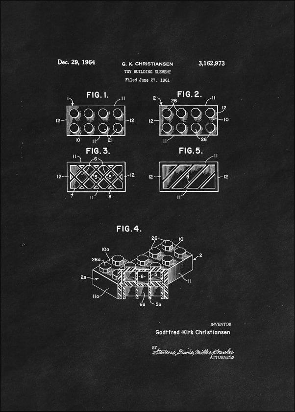 Patent, lego ii 1964 czarne - plakat wymiar do wyboru: 21x29,7 cm