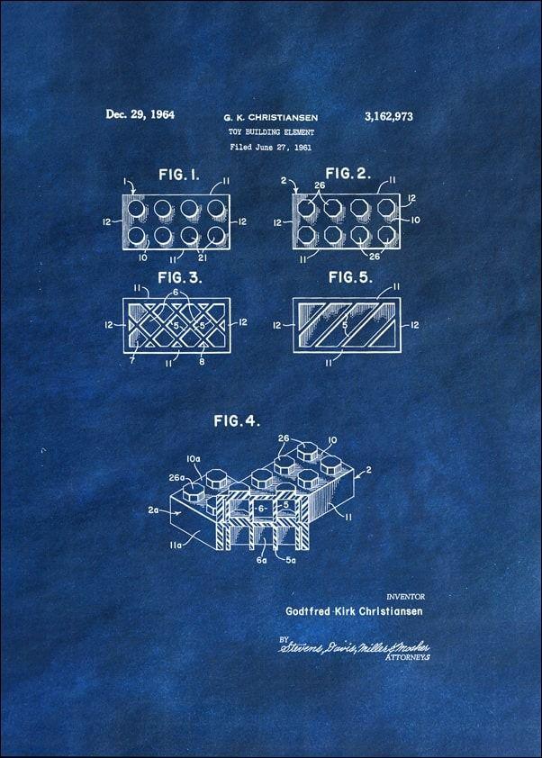 Patent, lego ii 1964 niebieskie - plakat wymiar do wyboru: 20x30 cm